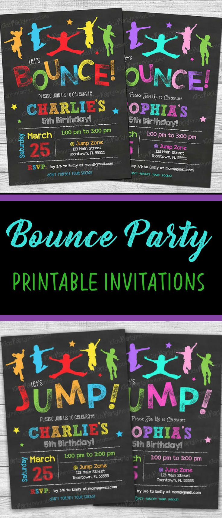 Jumping Birthday Party Invitation Wording create your own wedding ...