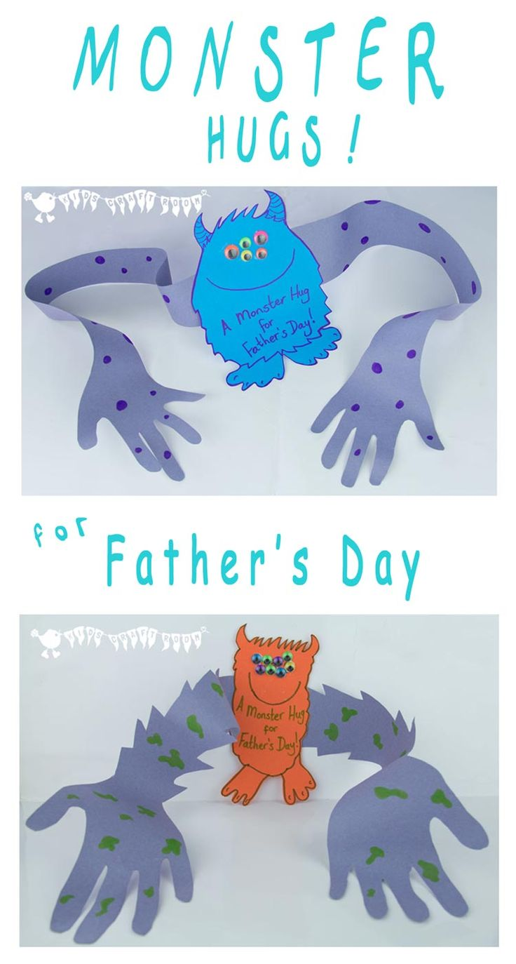 """A super cute Father's Day card for the children to make for Daddy.  A """"Monster Hug"""" from Daddy's little monster!"""