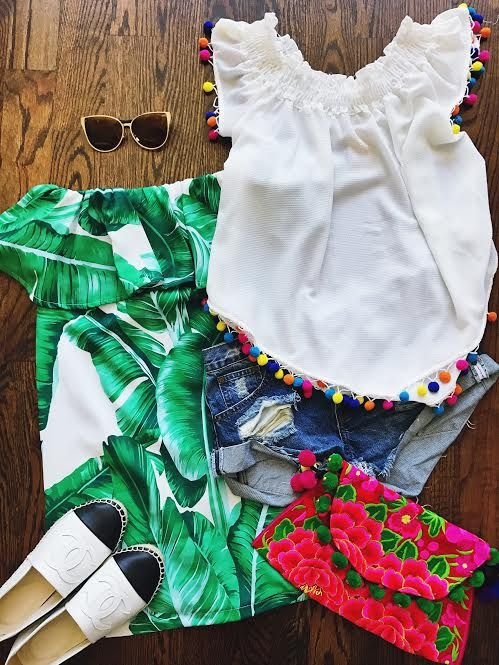 pom poms, pom pom top, pom pom clutch, embroidered clutch,  palm leaf dress, vacation clothes, what to bring on vacation, outfit of the day, cute clothes, fashion ideas, outfit ideas, embroidery, white tops, how to style your pom pom top, pom pom shirts, spring fashion, summer fashion