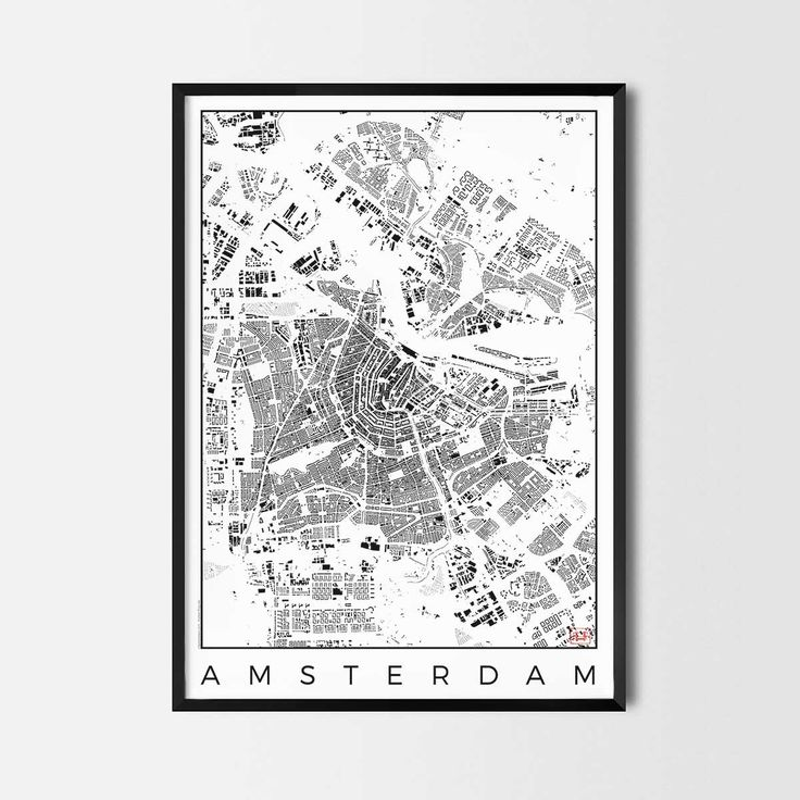 Amsterdam schwarzplan map art city posters. Unique interior decor idea for offices art posters or kitchen art prints.  Minimalist city art gifts for travelers as framed art or canvas wall art. Urban plan map style. print, poster, gift | CityArtPosters.com