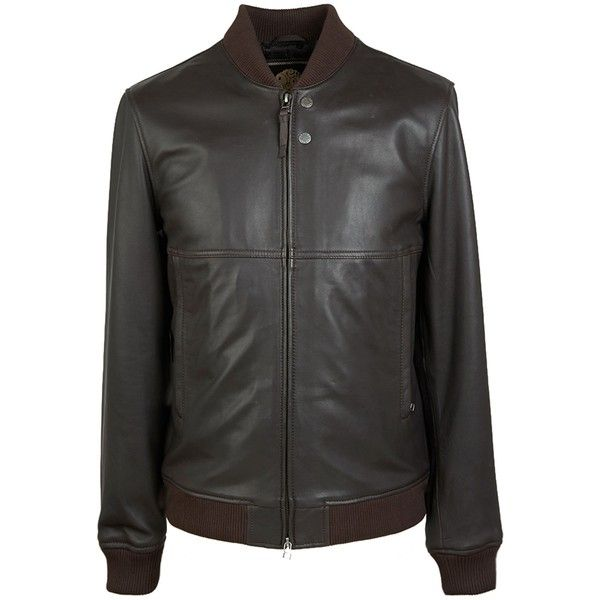 Pretty Green Leather Bomber Jacket ($440) ❤ liked on Polyvore featuring men's fashion, men's clothing, men's outerwear, men's jackets, men coats and jackets, mens zipper jacket, mens leather flight jacket, mens real leather jackets, mens leather bomber jacket and mens zip jacket