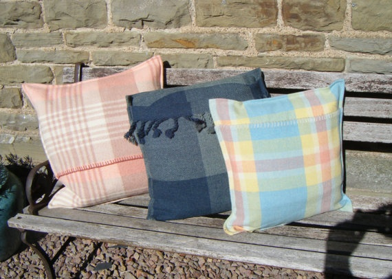 Vintage Welsh Blanket Cushions by Welshthreads on Etsy,
