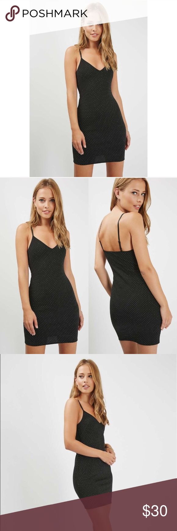 NWT Topshop Study Bodycon Dress Add a subtle edge to your party wear with this black body on dress with cami-style straps and cool stud detailing. Wear with metallic sandals for a show-stopping look. Size 8. New with tags. ✨ Feel free to ask any questions. No trades or outside transactions. Offers welcomed. Bundle to save more 🎈 Topshop Dresses