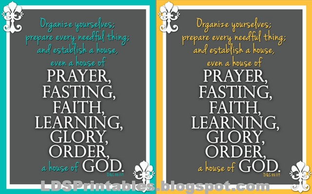 Free LDS Printables. House Of Prayer, Fasting, Faith