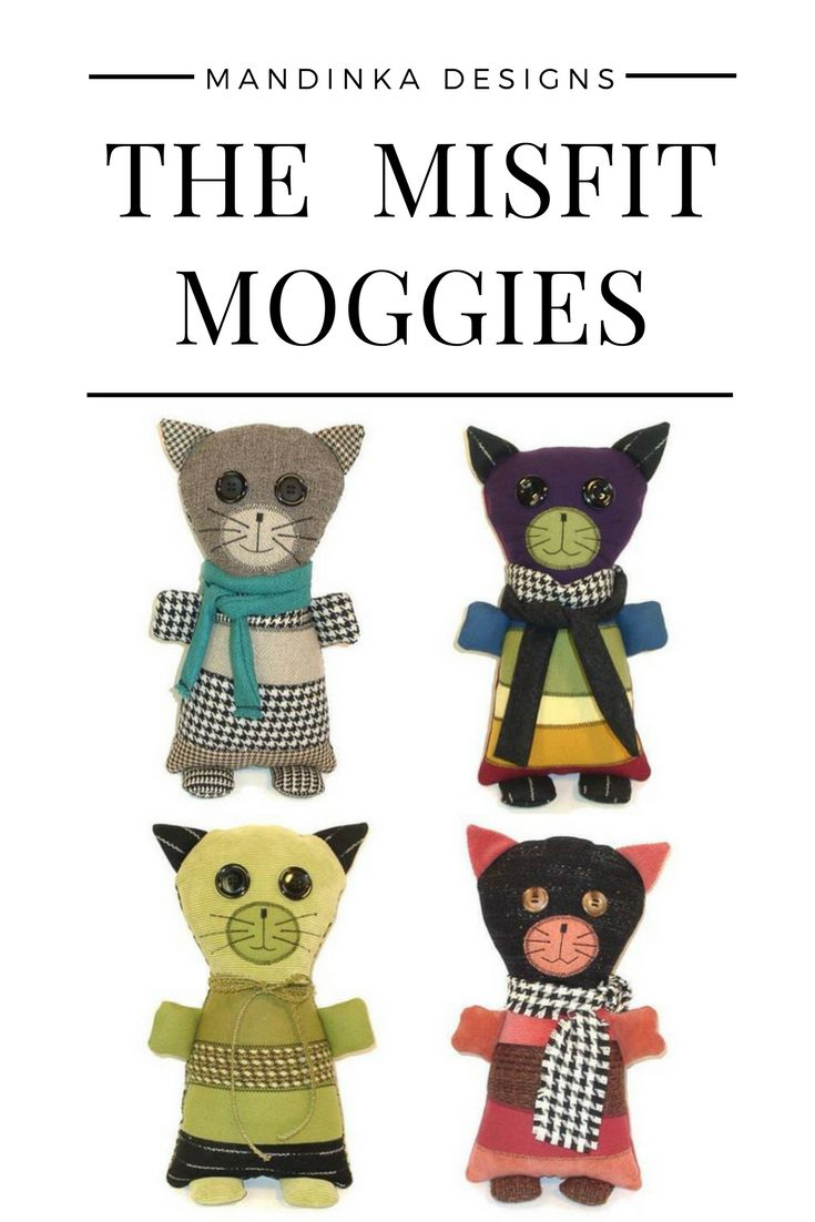 The Misfit Moggies are adorable, lovable cats made from suit coat remnants and scraps. Moggy (or moggie) is a British word for non-pedigree cats - the mutts of the cat world. #stuffedanimalcat #catlover #stuffedanimal #colorfulart #recycledart