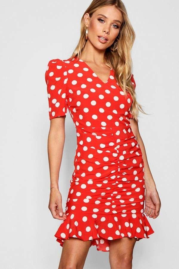 3e83a80469b boohoo Polka Dot Ruched Front Woven Tea Dress  ad  polkadotdress ...