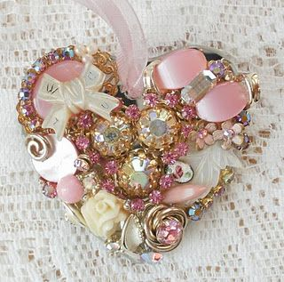 Michele's Treasures, Teacups, & Tumbling Rose Cottage: Heart Shaped Vintage Jewelry Ornament