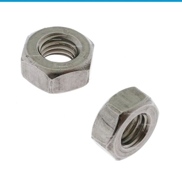 """Feingewindemuttern / Sechskantmuttern / DIN 934 mit Feingewinde (FG)  """"standard"""" rostfreier Stahl, bedingt säurebeständig (i.d.R. Festigkeitsklasse 50-70)     Material: Edelstahl A2 Festigkeit: i.d.R. 50-70 Korrosionsbeständigkeit: relativ hoch Rostfrei: ja Gewinde: metrisch Optik: metallisch matt, silbrig bis grau  Maße in mm"""