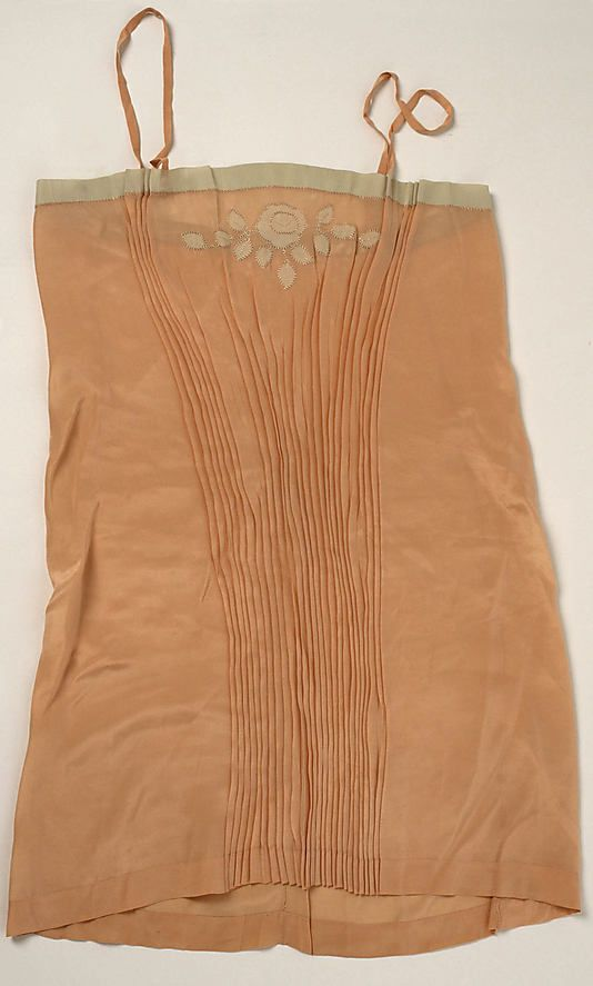 Underwear Date: 1920s Culture: French (probably) Medium: silk Dimensions: Length (a): 31 in. (78.7 cm) Length (b): 16 in. (40.6 cm) Credit Line: Gift of Phylis Simms Scofield, 1976 Accession Number: 1976.308.6a, b