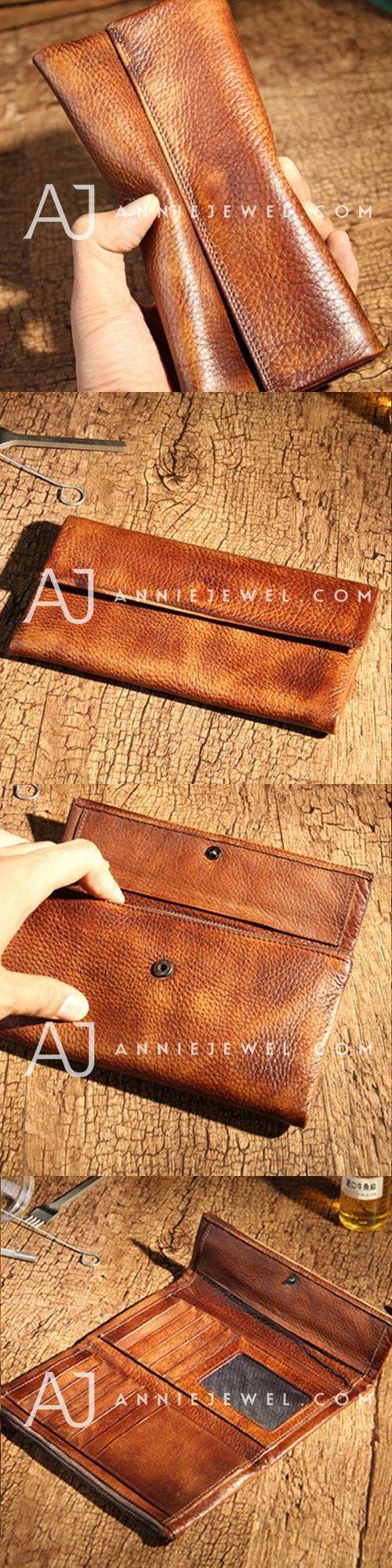 Handmade leather vintage women men long wallet clutch phone purse wallet