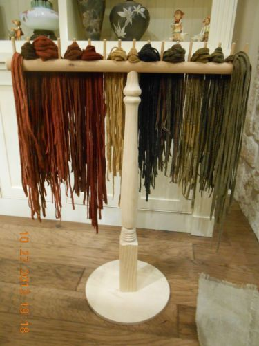 Rug Hooking Wool Strip Color Sorting Rack | eBay great idea...but my cat would try to eat these if left out like this