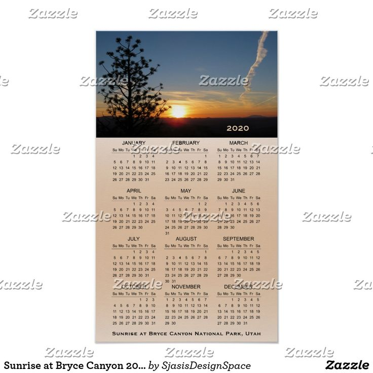 Sunrise At Bryce Canyon 2020 Wall Poster Calendar Zazzle Com