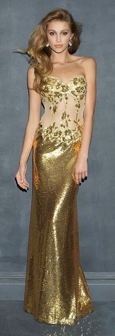 Evening gown with gold skirt and corset style top ...