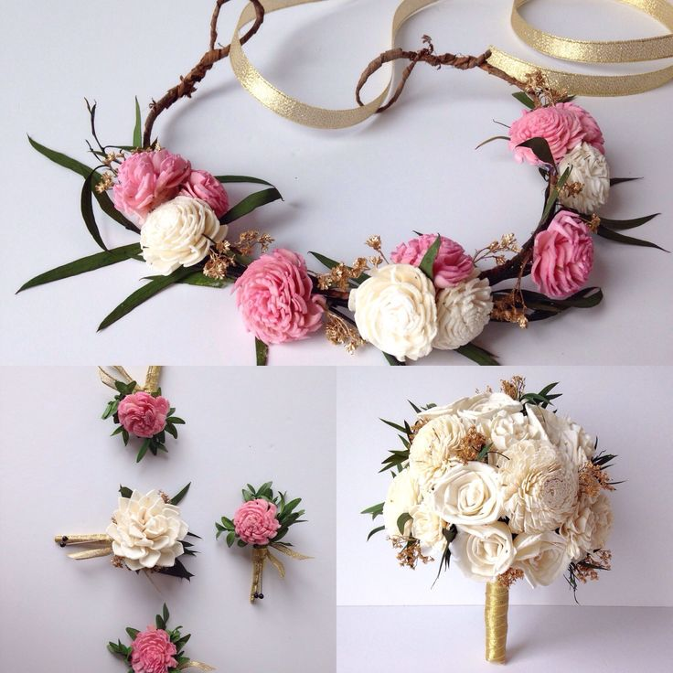 TheBackyardGardener on Etsy pink and ivory sola flowers for wedding pieces