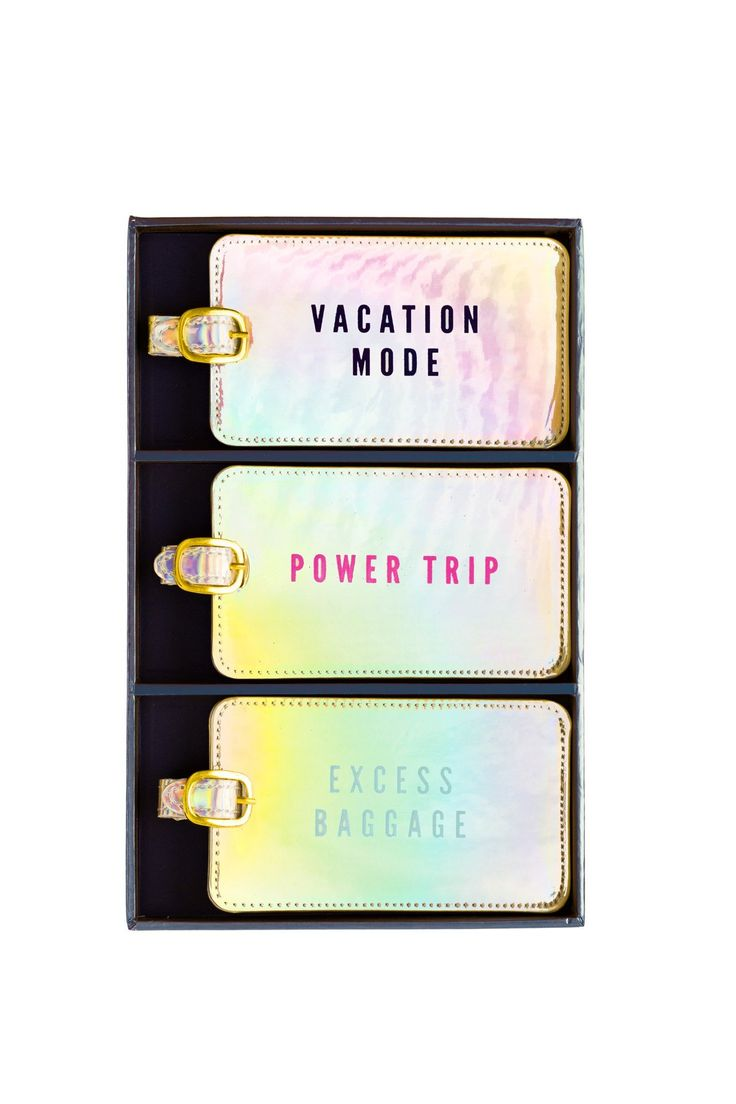 Luggage Tag Set of 3 in Iridescent (Vacation Mode, Power Trip and Excess Baggage)