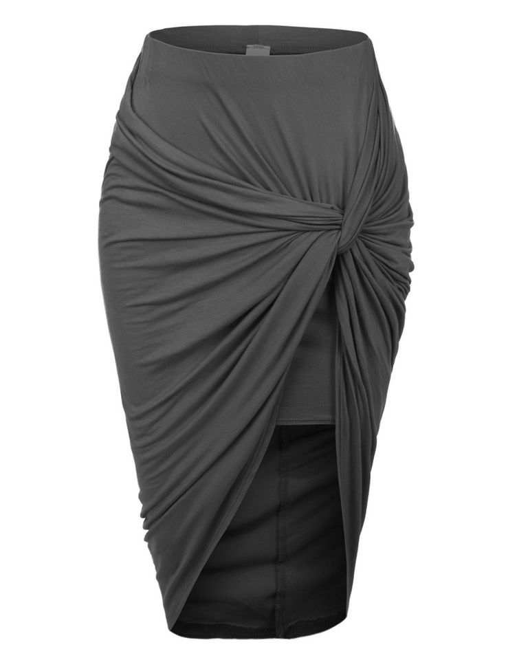 LE3NO Womens Asymmetrical Banded Waist Wrap Cut Out Hi Low Skirt | LE3NO