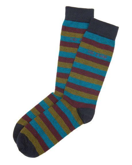 Herringbone stripe sock - Navy | Socks | Ted Baker