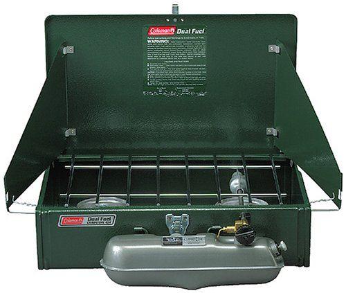 Coleman 2 Burner Dual Fuel Compact Liquid Fuel Stove. Details at http://onlinecampingstove.blogspot.com/