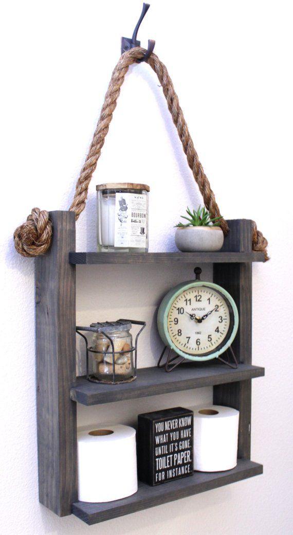 Farmhouse Bathroom Ladder Shelf, Country Rustic Hanging Storage, Rope Shelves, Modern Apartment Decor, Guest Storage – Badezimmer