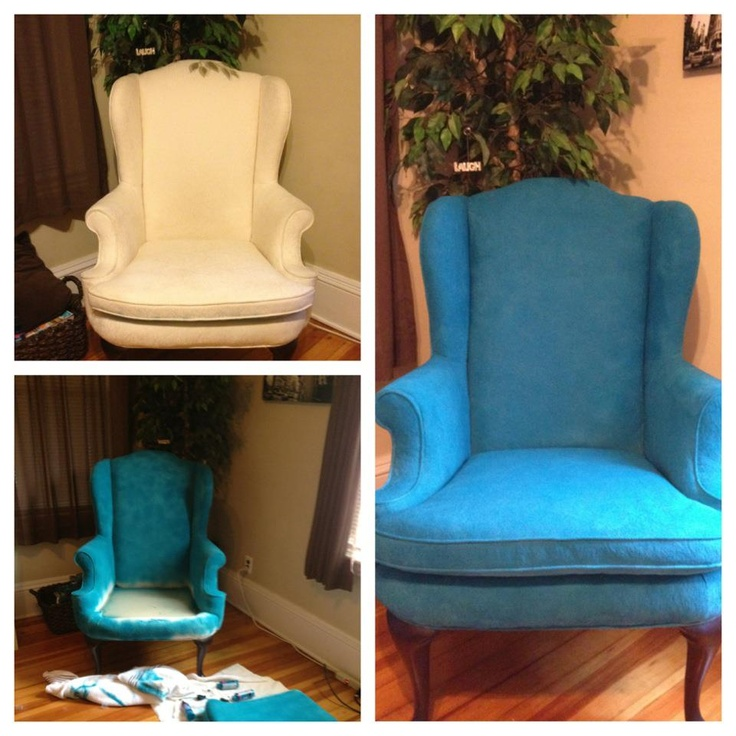My New Chair! I LOVE it! Tulip Fabric Dark Teal Spray Paint.