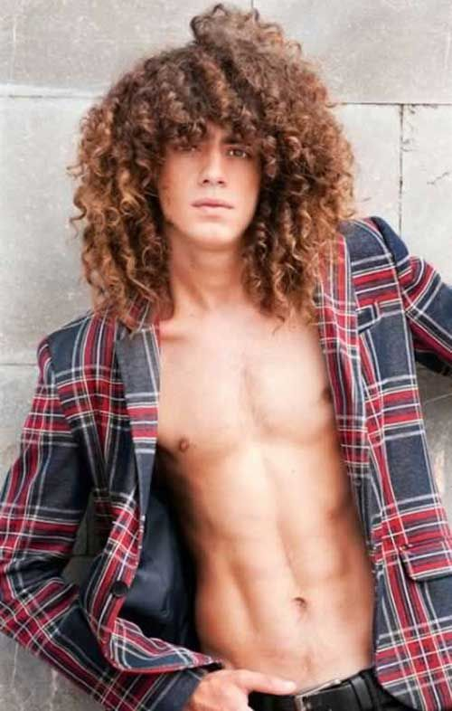 Long Curly Hairstyle Guy