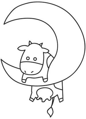 I don't think the cow quite made it over the moon.  (cute coloring sheet though)
