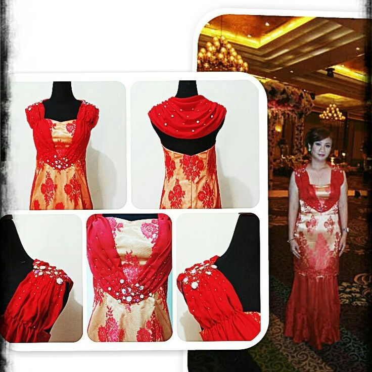 Two ways red-gold long dress. Short or long dress; u choose !