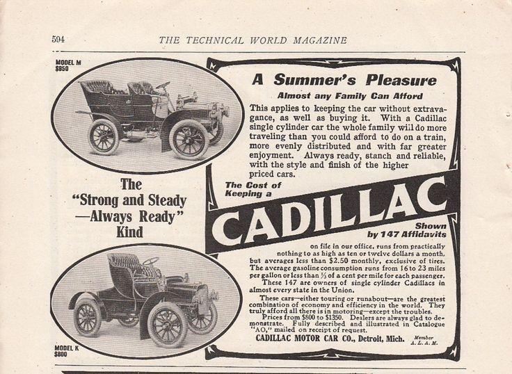 1907 cadillac motor car co detroit mi ad model m 950 and for Cadillac motor car company