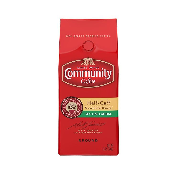 Community Coffee Ground Coffee, Half-Caff, 12-Ounce Bags (Pack of 3) * Trust me, this is great! : Fresh Groceries