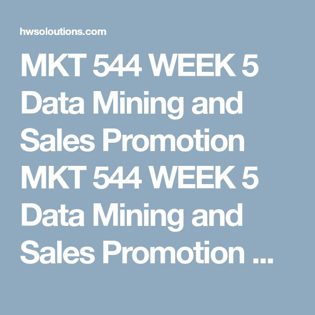 MKT 544 WEEK 5 Data Mining and Sales Promotion MKT 544 WEEK 5 Data Mining and Sales Promotion MKT 544 WEEK 5 Data Mining and Sales Promotion Picka restaurant, store, or business establishment in your town that is struggling to meet its targets and provide an introduction and background of this business. Imagine that they have a database of 2,500 customers with a designated marketing budget of $5000 to drive 4thquarter sales.  Designa Marketing campaign using the following tools:  Data…