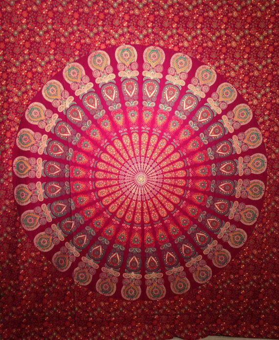 Maharani Maroon Indian bedsheet. Wall/bed decor Superior Quality Hippie Wall Tapestry or bedspread in 100% Organic Cotton Medallion print