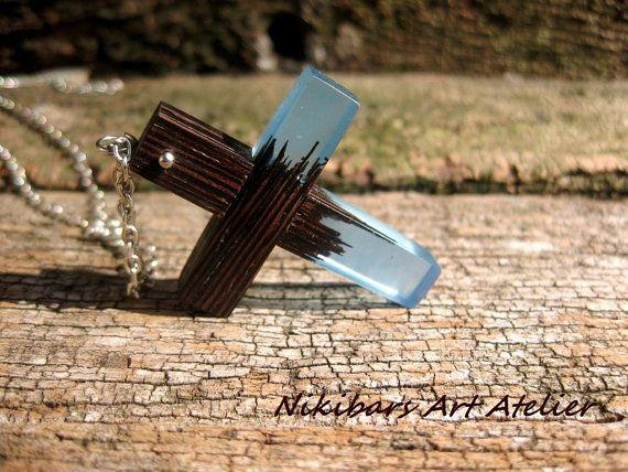 Wenge Resin Cross Necklace Cross Necklace by NikibarsNatureArt