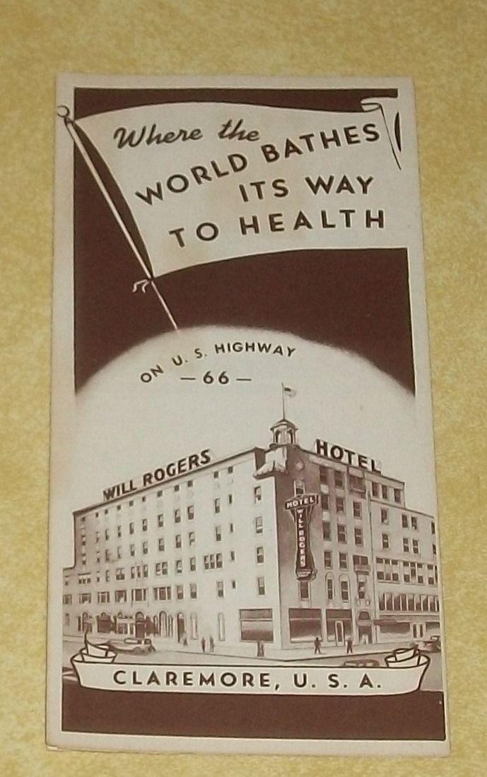 1 CLAREMORE OKLAHOMA WILL ROGERS HOTEL MOTEL ROUTE66 PAPER BROCHURE VTG EPHEMERA | eBay
