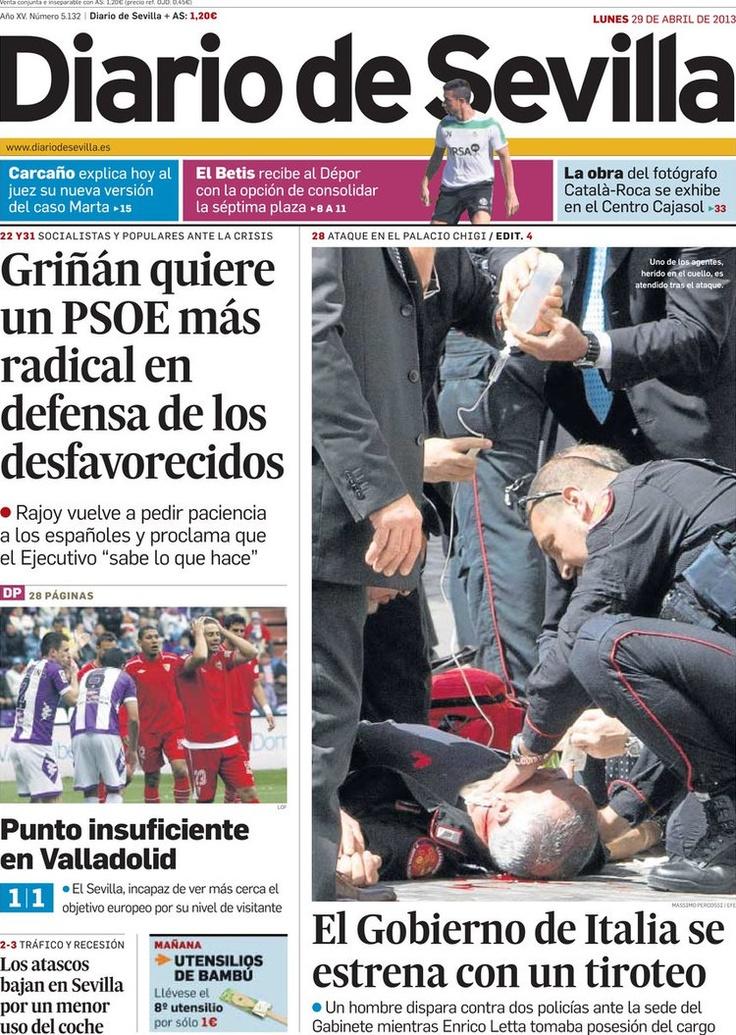 Los Titulares y Portadas de Noticias Destacadas Españolas del 29 de Abril de 2013 del Diario de Sevilla ¿Que le parecio esta Portada de este Diario Español?