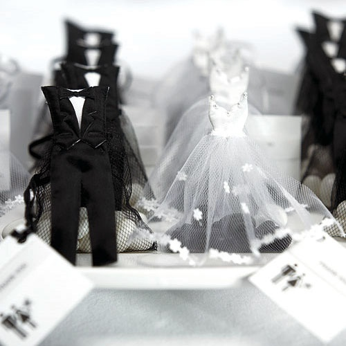 Bride and Groom Favor Bags, Mini Bridal Dress and Tuxedo Favor Bags, Wedding Favors Packaging