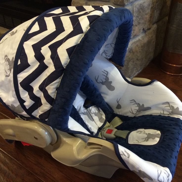 Gray deer heads boutique infant car seat cover