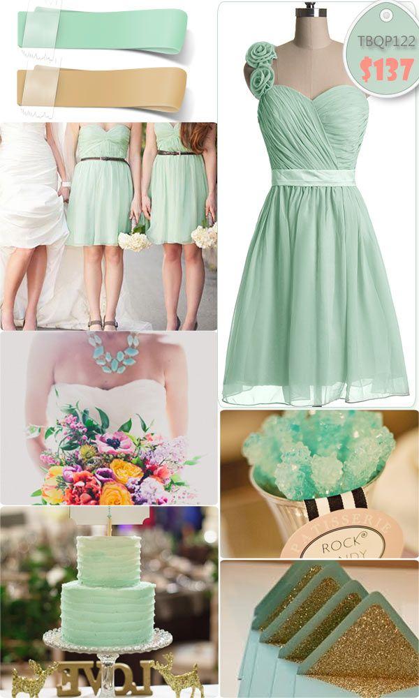 Adorable Floral One-shoulder Mint Short Bridesmaid Dresses for Mint Gold Weddings