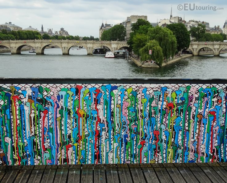 "After hearing news the EUtouring Team took another look at Pont des Arts and it's new ""love locks"", pictured here with a painted panel where padlocks used to be, which were removed for the integrity and safety of the bridge.  Find out more at www.eutouring.com/images_pont_des_arts_2015.html and let us know what you think in the comments!"