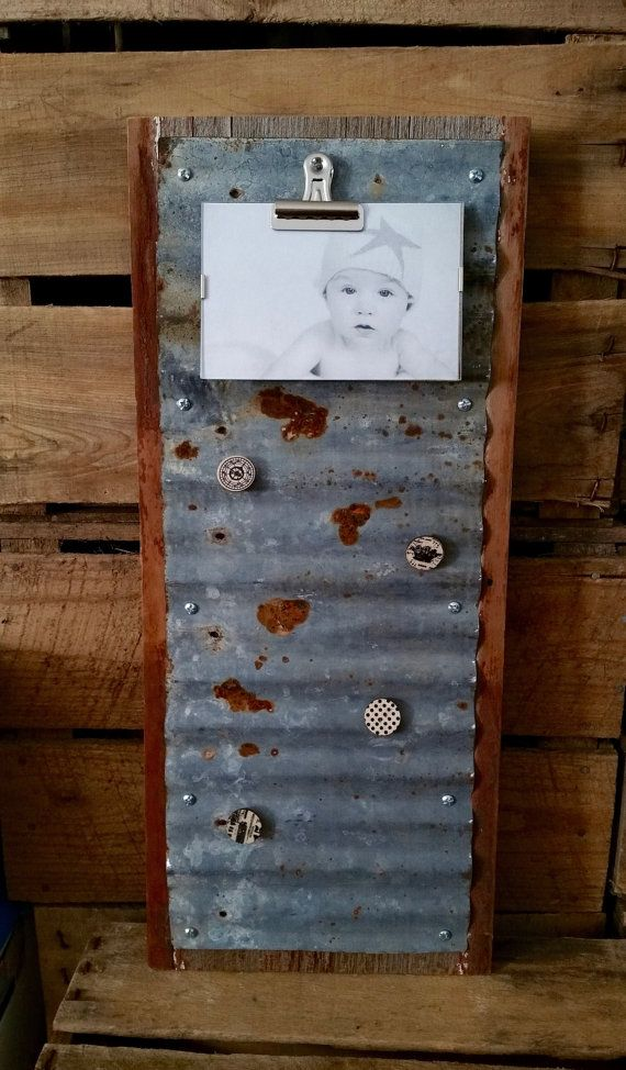 Memo Board Corrugated Metal on Barnwood by CastedLeavesbyRhonda