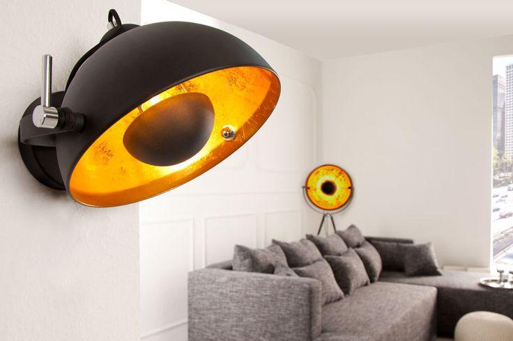 Moderne Wandleuchte STUDIO schwarz gold Lampe Blattgold | Riess Ambiente Onlineshop