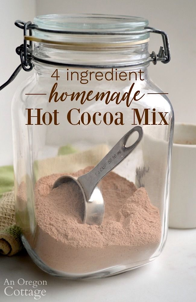 4 Ingredient Homemade Hot Cocoa Mix