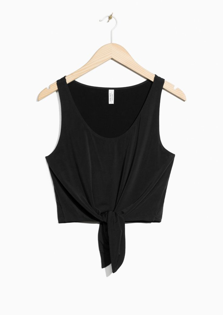 Other Stories image 1 of Cupro Tie Hem Top in Black