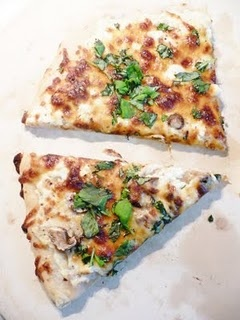 White Four-Cheese Pizza with Basil. Add a some pesto and chopped ...