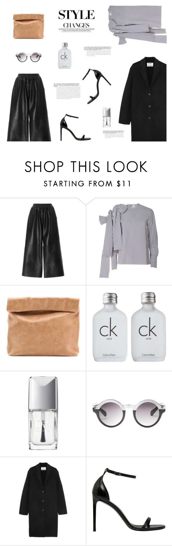 """""""LEATHER CULOTTES"""" by canvas-moods ❤ liked on Polyvore featuring Tome, MSGM, Marie Turnor, Calvin Klein, Christian Dior, Monki, Acne Studios, Yves Saint Laurent, TrickyTrend and Leather"""