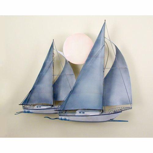 Metal Wall Decor Sailboats : Escultura seafaring metal art veleros wall