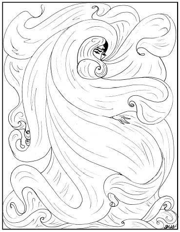 Art Nouveau Coloring Pages - Beautiful Girl