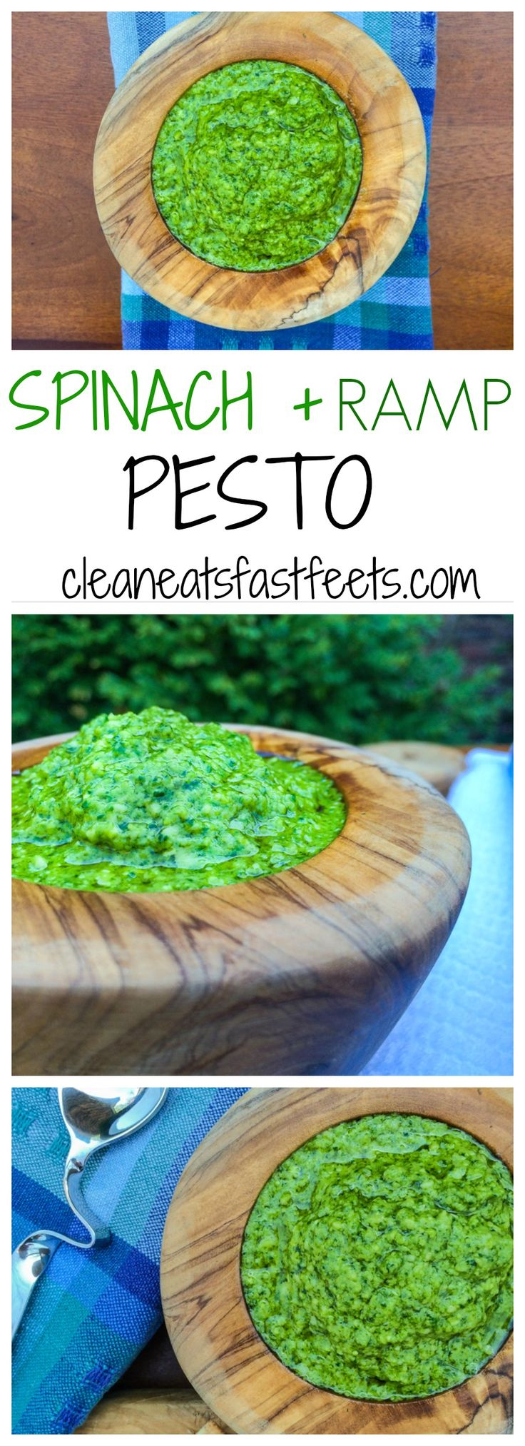 Spinach Ramp Pesto. A tasty pesto recipe using seasonal ramps and fresh spinach, which will tickle your taste bud and dance on your tongue.