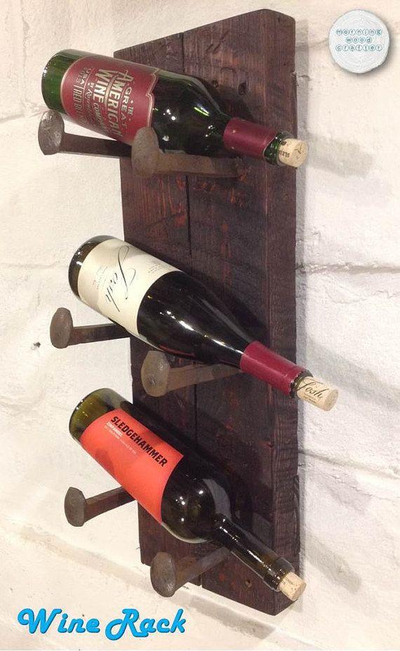 Wine Rack; Rustic Wine Rack; Railroad Spike Wine Rack; Wall Hung Wine Rack; Unique Wine Rack; Wine Home Decor; Reclaimed Wine Rack
