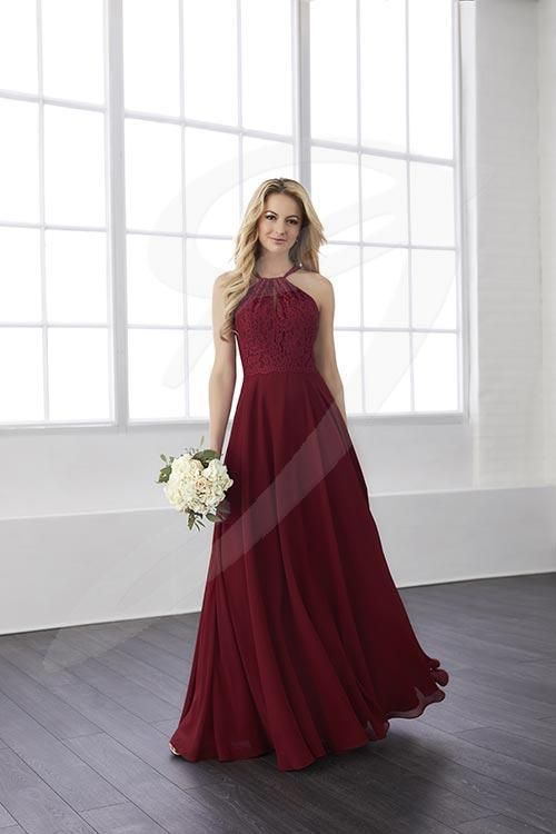 Balletts Bridal - 25568 - Bridesmaids by Jacquelin Bridals Canada - Lace top supporting a semi-hater neckline and cutout back with straps that button in the center of its X shape. Ending in an A-line chiffon skirt.
