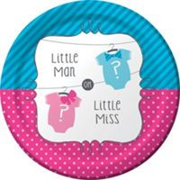 Little Man, Little Miss Gender Reveal Lunch Plates 8ct - Party City